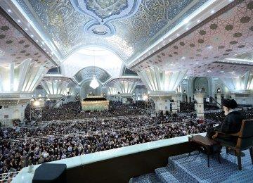 Ayatollah Seyyed Ali Khamenei addresses a ceremony on June 4 to mark the 1989 demise of Imam Khomeini, the late founder of the Islamic Republic.