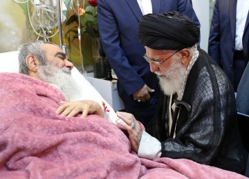 Leader Visits Senior Cleric at Tehran Hospital