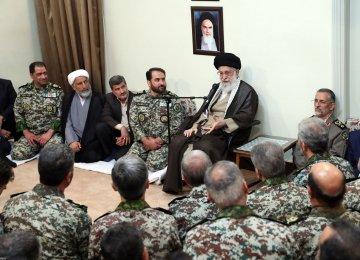 Ayatollah Seyyed Ali Khamenei meets air defense commanders and staff in Tehran on Sept. 3.