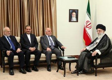 Ayatollah Seyyed Ali Khamenei meets Iraqi Prime Minister Haider al-Abadi in Tehran on June 20.