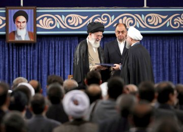 Ayatollah Seyyed Ali Khamenei endorsed President Hassan Rouhani for his second term in a ceremony in Tehran on August 3.