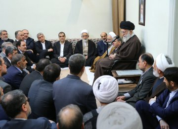 Ayatollah Seyyed Ali Khamenei addresses government officials in Tehran on April 10.