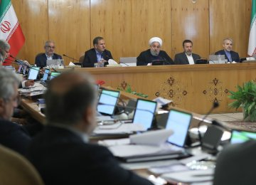 President Hassan Rouhani addressing a cabinet meeting in Tehran on Wednesday