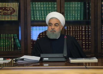 President Hassan Rouhani speaks at a meeting with government officials in Tehran on Dec. 28.
