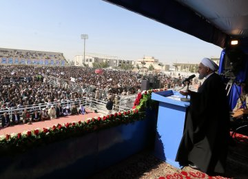 President Hassan Rouhani addresses a public gathering in Zabol on Dec. 2.