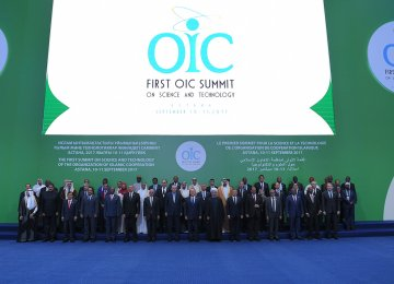 Heads of state and government from OIC member states pose for a family photo during the First OIC Summit on Science and Technology in Astana, Kazakhstan, on Sept. 10.