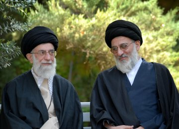 Ayatollah Seyyed Mahmoud Hashemi Shahroudi (R) is seen alongside the Leader of Islamic Revolution Ayatollah Seyyed Ali Khamenei.