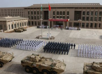 Chinese People's Liberation Army personnel attend the opening ceremony of China's new military base in Djibouti, Aug. 1.