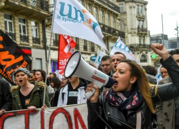 French Student Protests Add to  Macron's Rail Strike Woes