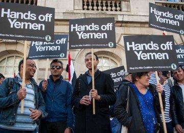 Anti-war Hands Off Yemen protest at the Saudi Embassy in London