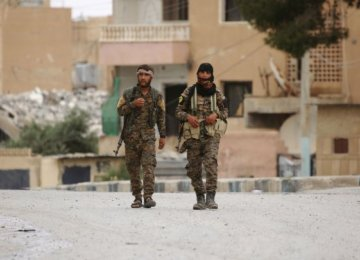 Members of the Syrian Democratic Forces in Raqqa, Syria, on May 18