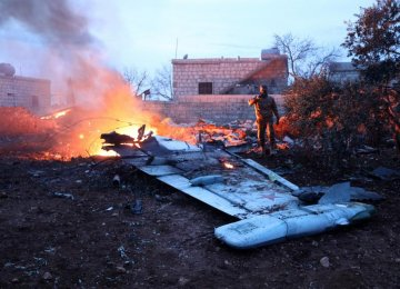 The downed Sukhoi-25 fighter jet in the Syrian city of Saraqib