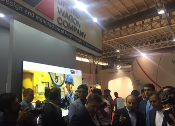 Russia's United Wagon Company's pavilion at the Fifth International Exhibition of Rail Transportation, Related Industries and Equipment in Tehran, which runs from May 15-18.