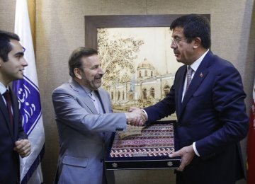 Turkish Economy Minister in Tehran