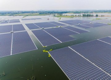 Floating solar panels in China.
