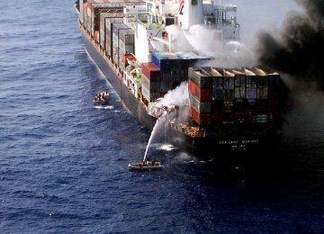 Blaze Hits Ship at Sharjah Port