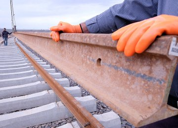 Track-Laying for Mianeh-Tabriz Railroad Begins