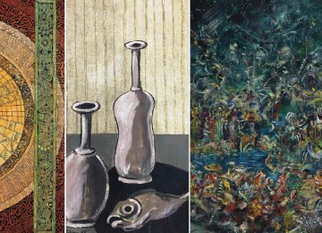 From left: 'The Shadow of Stars' by Charles-Hossein Zenderoudi, an untitled work by Bahman Mohassess from his  'Still Life' series and 'The Light' by Ali Banisadr (cover of the back of catalogue)