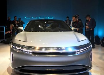 California-based Lucid Motors unveiled a prototype of a luxury sedan the Lucid Air in California on December 14, 2016.