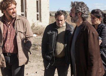 From left: Javier Bardem, Eduard Fernandez, Ricardo Darin and Penelope Cruz in Everybody Knows