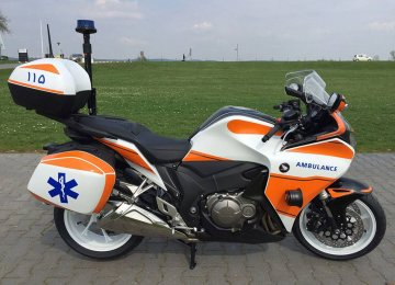Motorcycle ambulances operate in cities with populations of more than 500,000.