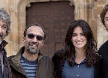 From left: Ricardo Darin, Asghar Farhadi, Penelope Cruz and Javier Bardem