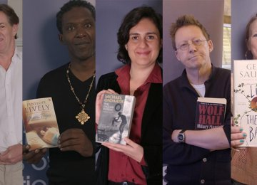"From left: Writer Robert McCrum selected ""In a Free State"" from the 1970s. Poet Lemn Sissay chose the winner from the 1980s, selecting ""Moon Tiger."" Novelist Kamila Shamsie selected ""The English Patient"" as best work of the 1990s. ""Wolf Hall"" was selected by radio presenter Simon Mayo as the best novel of the 2000s, and ""Lincoln in the Bardo"" was chosen by poet and author Hollie McNish."