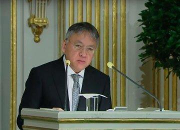 Kazuo Ishiguro giving his Nobel speech