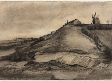 The recently discovered drawing by Vincent Van Gogh entitled  'The Hill of Montmartre with Quarries'