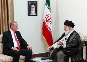 Leader of Islamic Revolution Ayatollah Seyyed Ali Khamenei meets Turkish President Recep Tayyip Erdogan in Tehran on Oct. 4.
