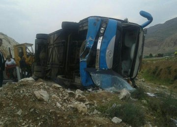 The driver lost control of the speeding minibus on the slippery road, which led to the crash.