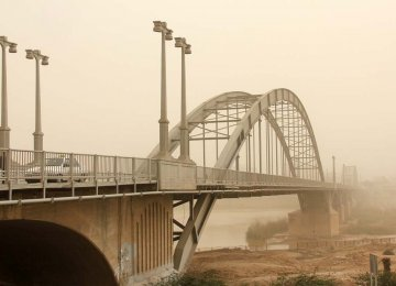 The iconic Pol-e-Sefid bridge in Ahvaz, Khuzestan Province, on Feb. 18