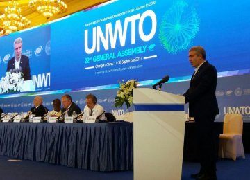Ali Asghar Mounesan, the ICHHTO chief, addressed the 22nd General Assembly of UNWTO in Chengdu, China, on Sept. 13.
