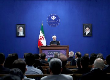 President Hassan Rouhani speaks in a press conference in Tehran on Jan. 17.