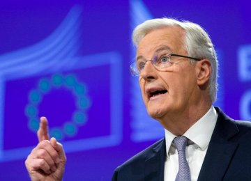 "Michel Barnier during his speech in Brussels, Nov 20, said: Britain would lose its ""passporting"" rights to let banks automatically do business in the EU after it leaves in March 2019."