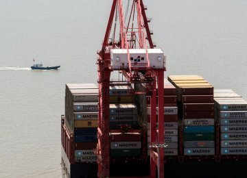 A US cargo ship at the Yangshan Deep-Water Port, in Shanghai in April.
