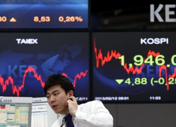Australian stocks shed 0.9%, South Korea's KOSPI lost 1%, Hong Kong's Hang Seng 0.9% and Shanghai 0.8%.  Japan's Nikkei was the stand-out as it dropped 1.4%.