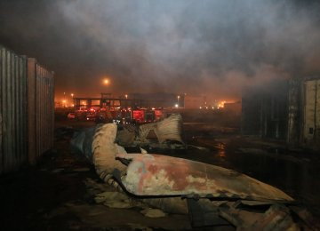Fire at Petroleum Products Warehouse Extinguished
