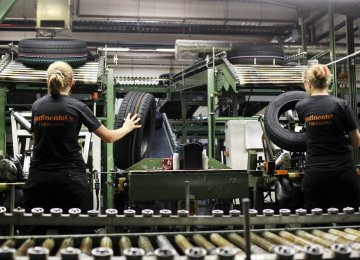 Romania leads the pack in economic growth. The picture shows tires being inspected during production  at the Continental plant in Timisoara.
