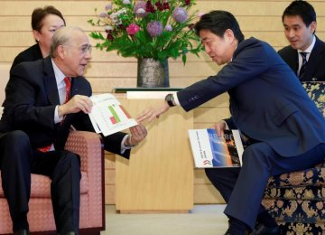 OECD Secretary-General Angel Gurria (L), explains materials of OECD Economic Surveys Japan to Japanese Prime Minister Shinzo Abe at Abe's official residence in Tokyo, April 13.