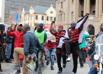 Protesters at an anti-Zuma march in Pretoria.