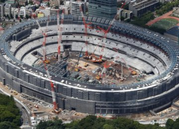 The main stadium of the 2020 Olympics under  construction in central Tokyo.