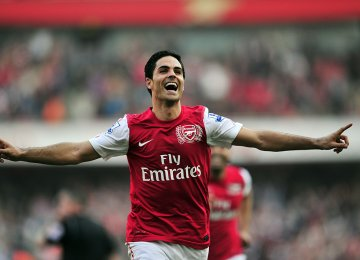 Mikel Arteta as a player in Arsenal