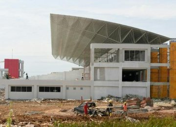 Construction work goes on at the rowing venue of the 2018 Asian Games, in Palembang, as seen on November 28.