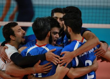 Iran volleyball team celebrates the second title of the Asian Games.