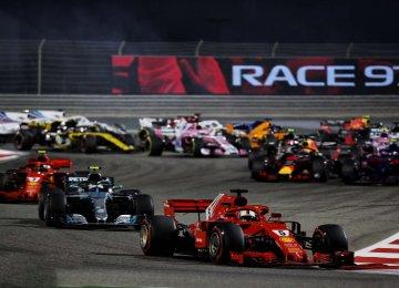 Sebastian Vettel ahead of other drivers.