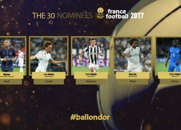 Ballon d'Or 30-Man Shortlist Announced