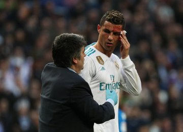 Cristiano Ronaldo got injured after his second goal  and left the game.