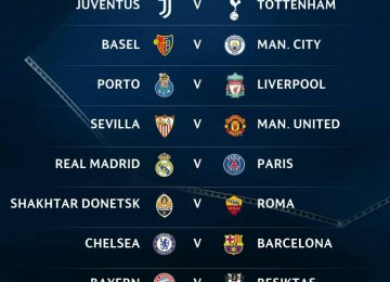 PSG to Face Real Madrid, Chelsea Drawn Against Barca