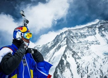 Valery Rozov is pictured preparing to jump off the north face of Mount Everest into Tibet in China, May 2013.
